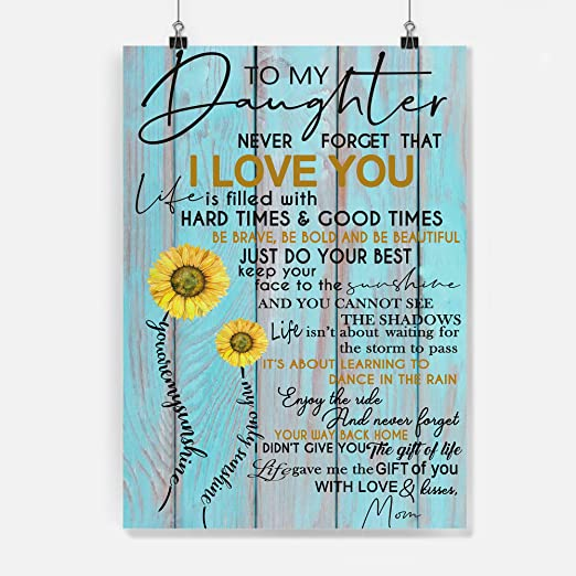 To My Daughter Never Forget That I Love You Mom Gift For Daughter Poster