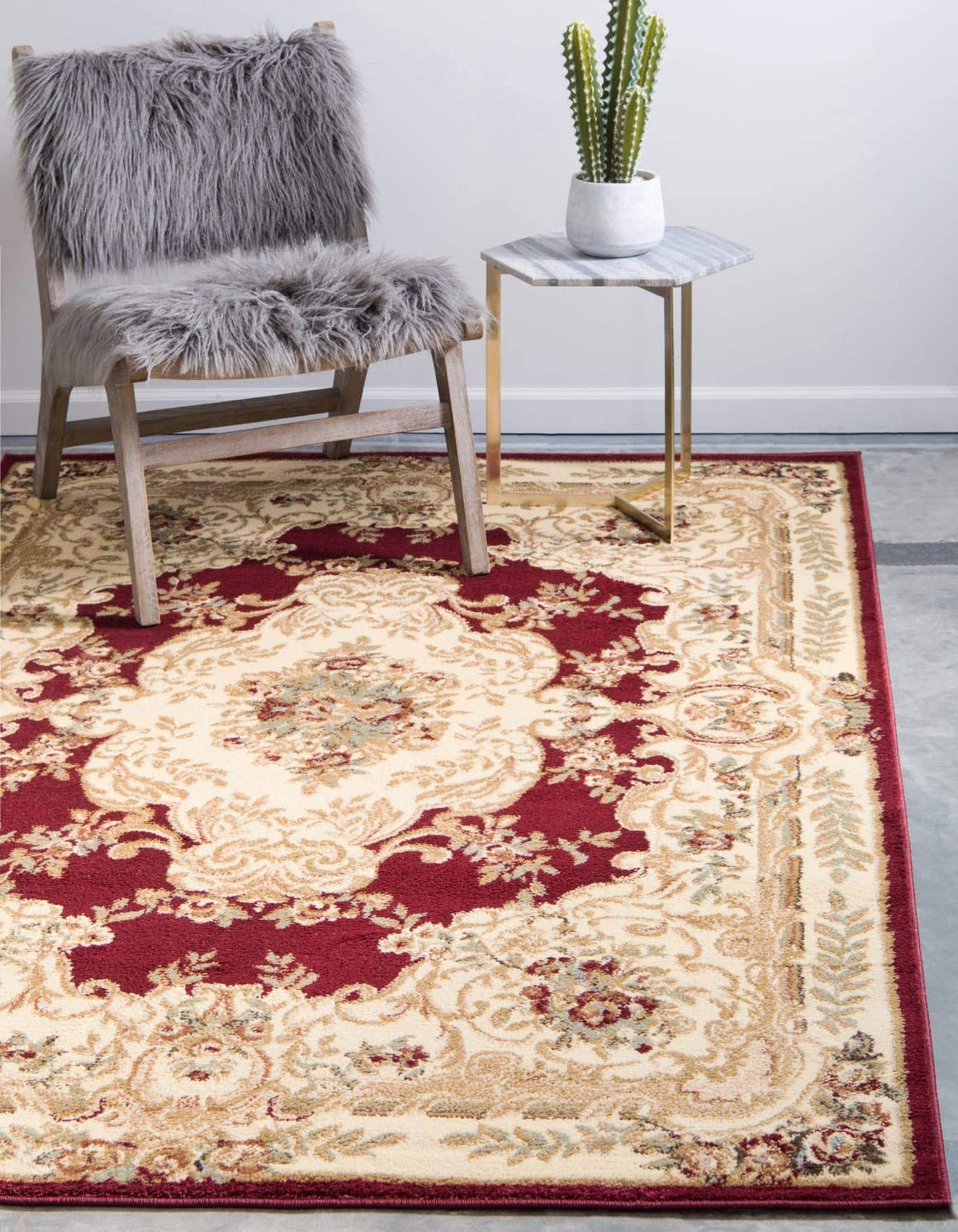 Unique Loom Versailles Collection Traditional Classic Red Area Rug 10 0 x 13 0