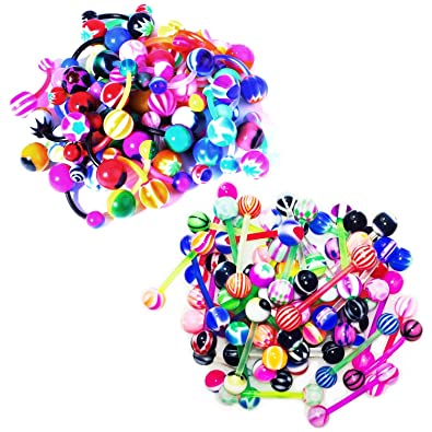 Bodyj4you 100 Mix Pack 50pc 14g Belly Button Rings And 50pc 14g Tongue Ring Barbells Kit