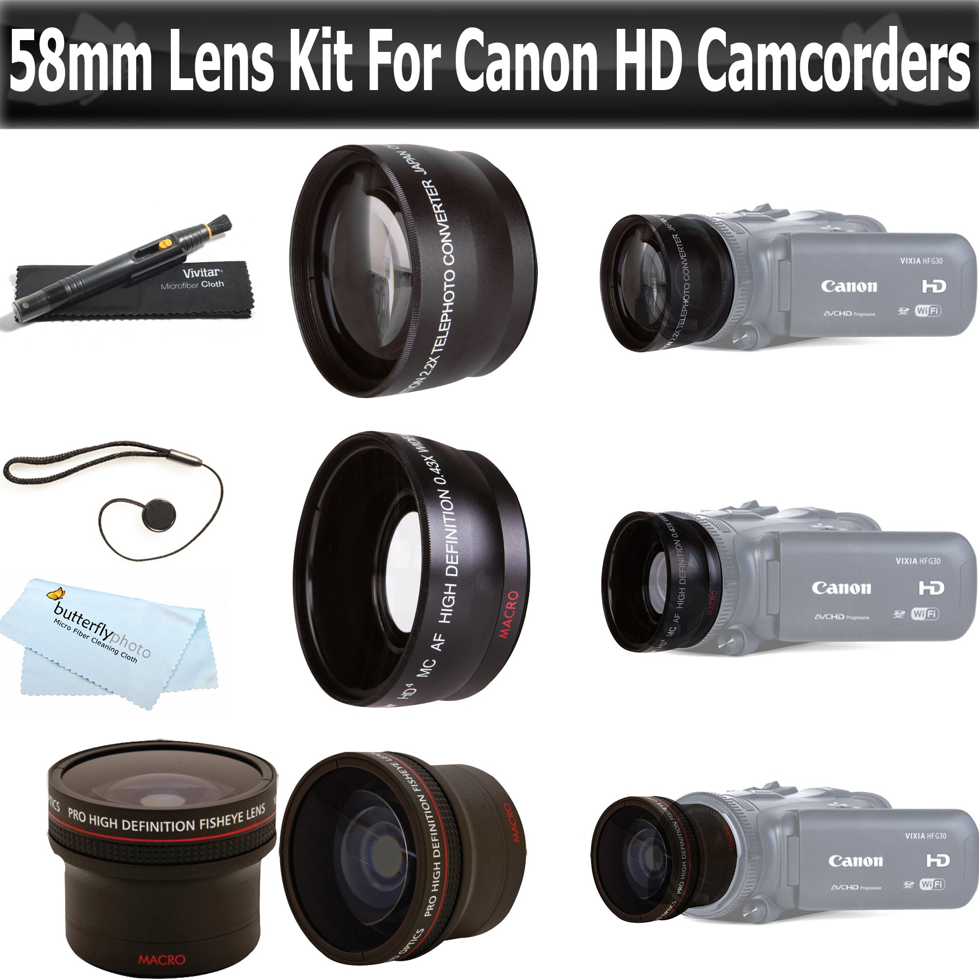 ButterflyPhoto Essentials Lens Kit For Canon Vixia HF G20, HF G30, HF G40 HD Camcorder Includes .16x HD Super Wide Fisheye Lens + 2x Telephoto HD Lens + .45x Wide Angle Macro HD Lens + More by ButterflyPhoto