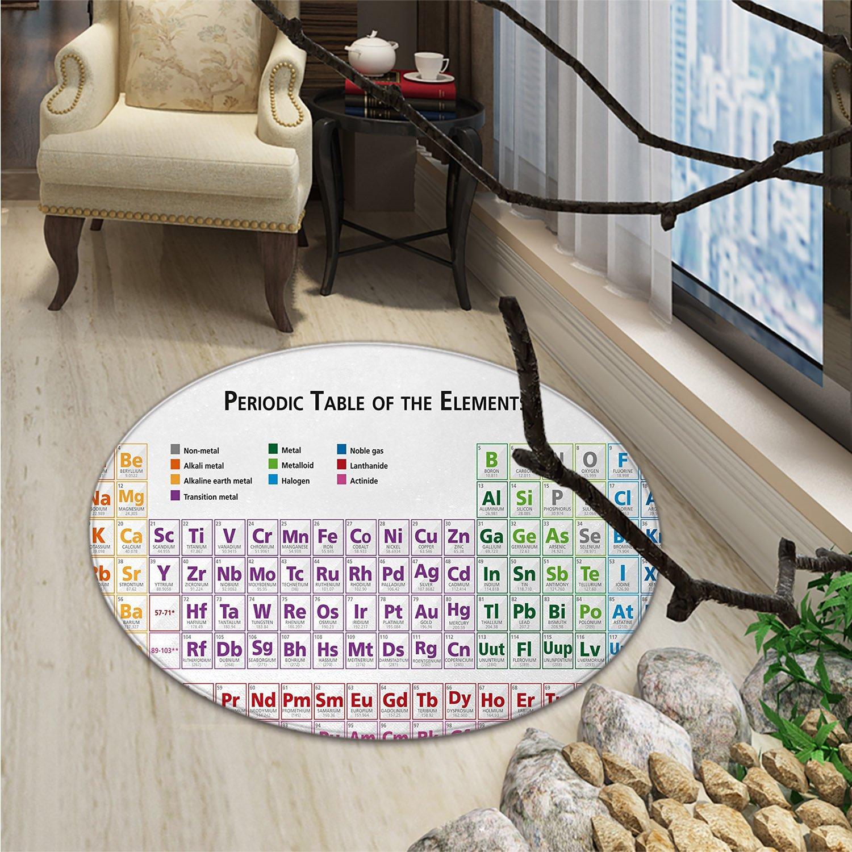 Science Round Area Rug Chemistry Primary School Students Geek Nerd Lessons Classes Smart Kids Art PrintOriental Floor and Carpets Multicolor