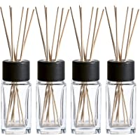 Whole Housewares Clear Glass Diffuser Bottles with Natural Reed Sticks and Black Wood Caps (2X4.7 Inch)