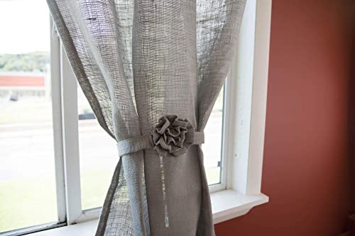 AT Primitive Country Burlap Rose and Ruffle French Door Panel Curtain Light Gray