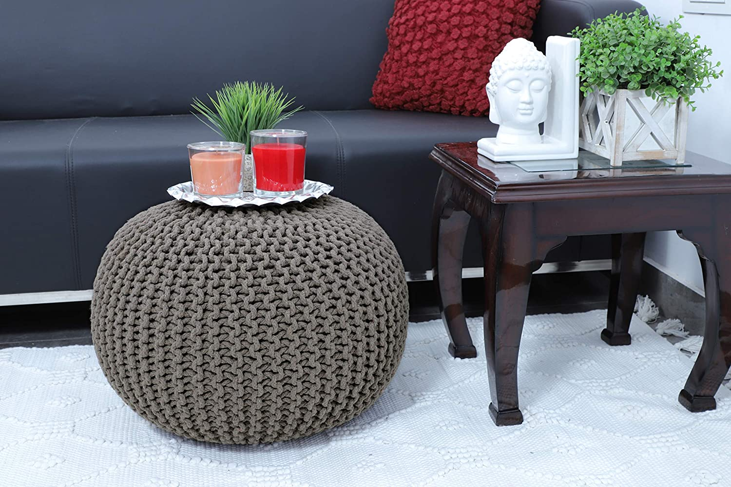 Frenish Décor Hand Knitted Cotton Ottoman Pouf Footrest 20x20x14 INCH, Living Room Accent seat (Beige)
