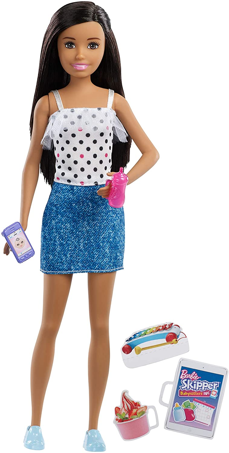 Barbie Skipper Babysitters Inc Baby with Bottle Brown Hair