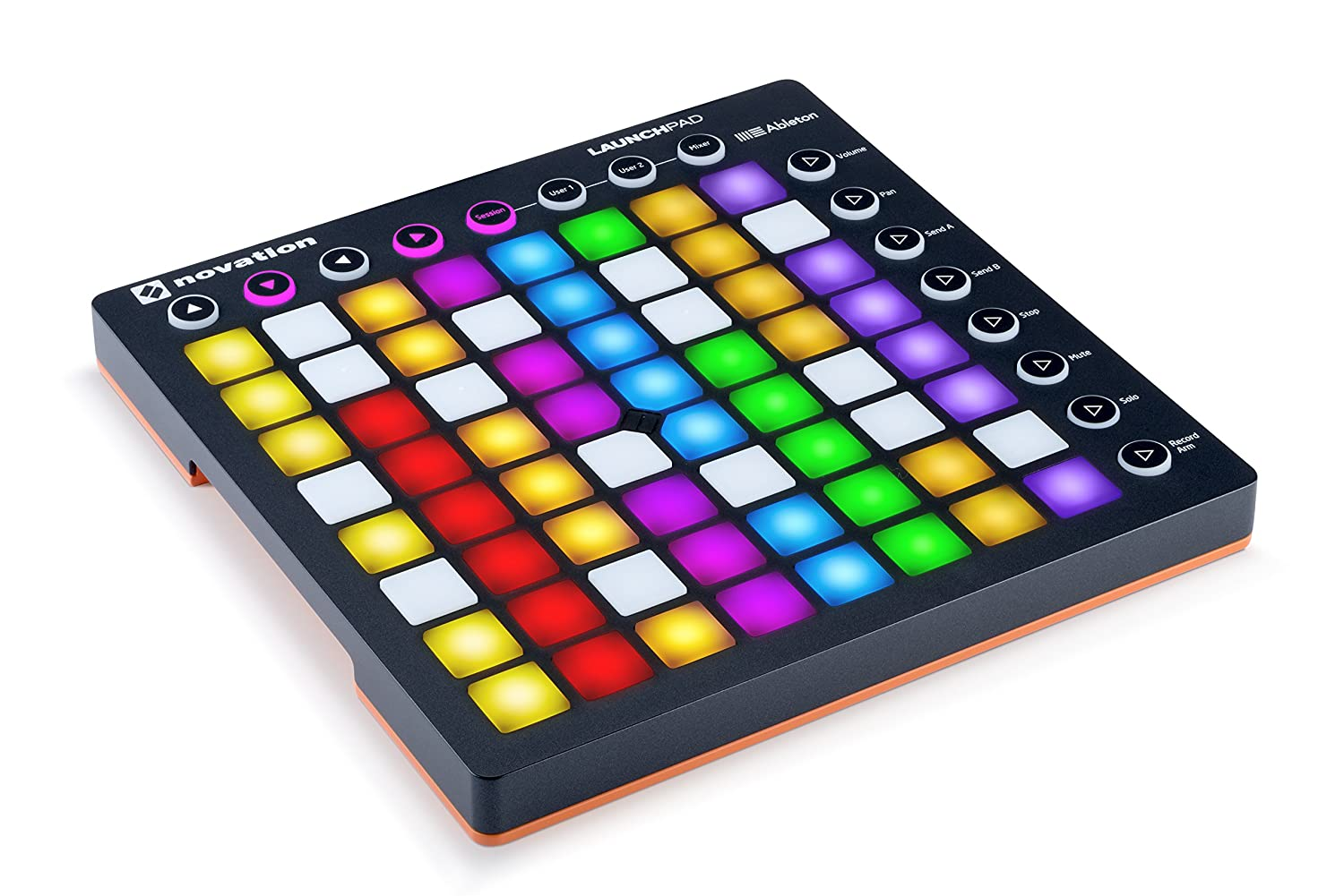 Multi-colored novation pad toy with buttons