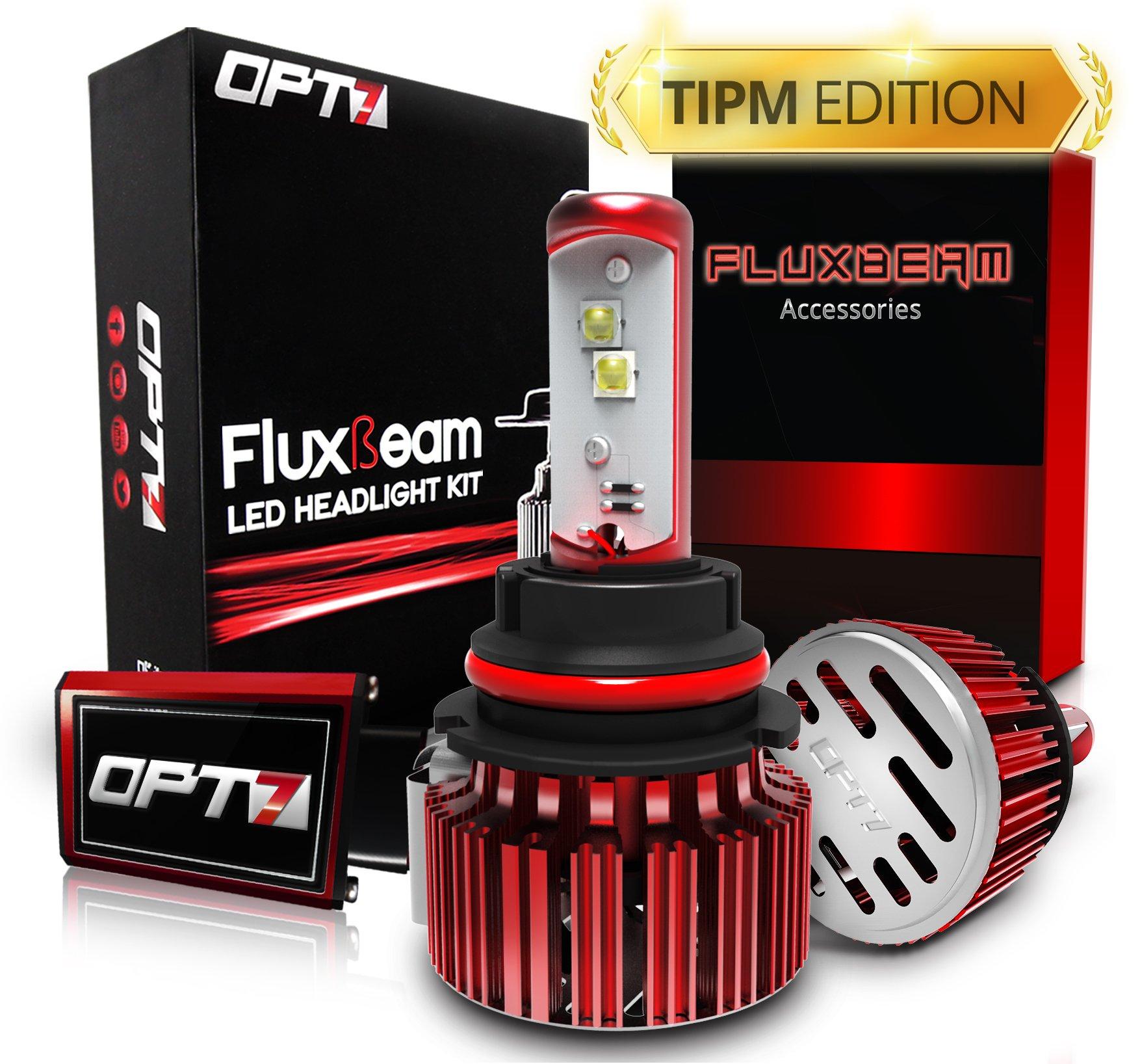 OPT7 Fluxbeam 9007 LED Headlight Bulbs w/TIPM Resistors Kit - 80w 7,000Lm 6K Cool White CREE - 2 Yr Warranty - for Dodge, RAM, Jeep, Chrysler