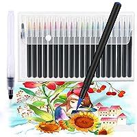 Jhua 20 Colores Marcadores Pluma - Set de Pinceles de Acuarela + 1 Pincel de Agua, Cepillo Flexible & Suave, Perfecto regalo para Niños Marcadores Pluma Acuarela Pintura para libros de colorear, Dibujo, etc
