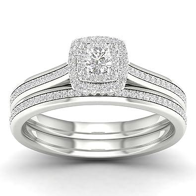 211d5652b2902 De Couer 10K White Gold 1/3 ct TDW Round Cut Diamond Double Halo Engagement  Ring Set (HI, I2) (7)