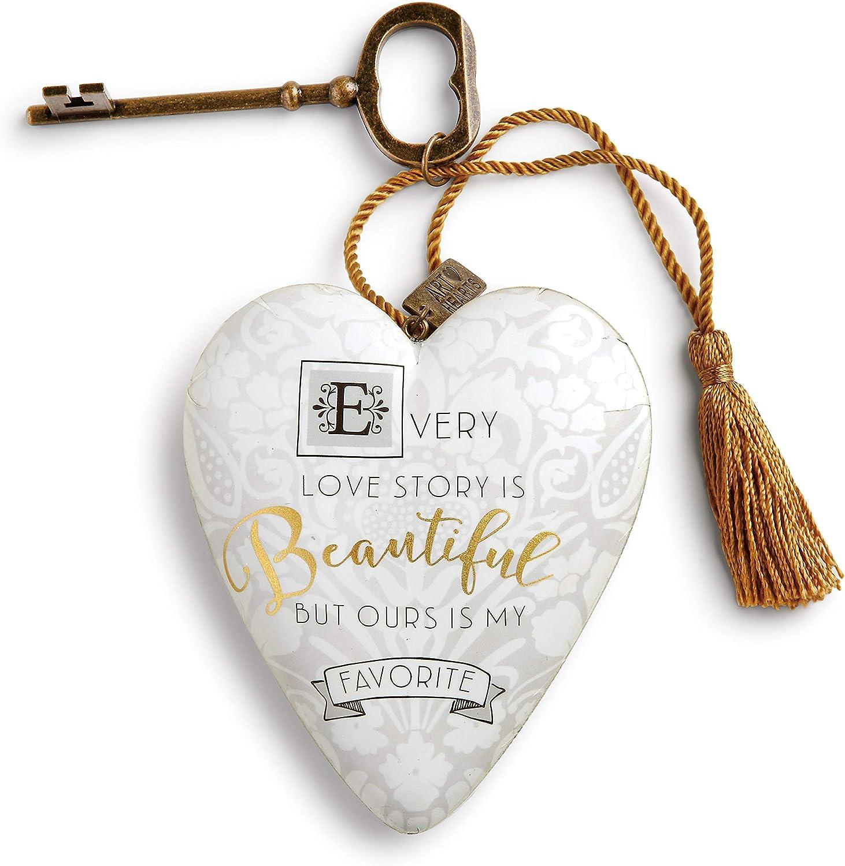 DEMDACO Love Story Damask Lace 4 x 3 Heart Shaped Resin Keepsake Decoration
