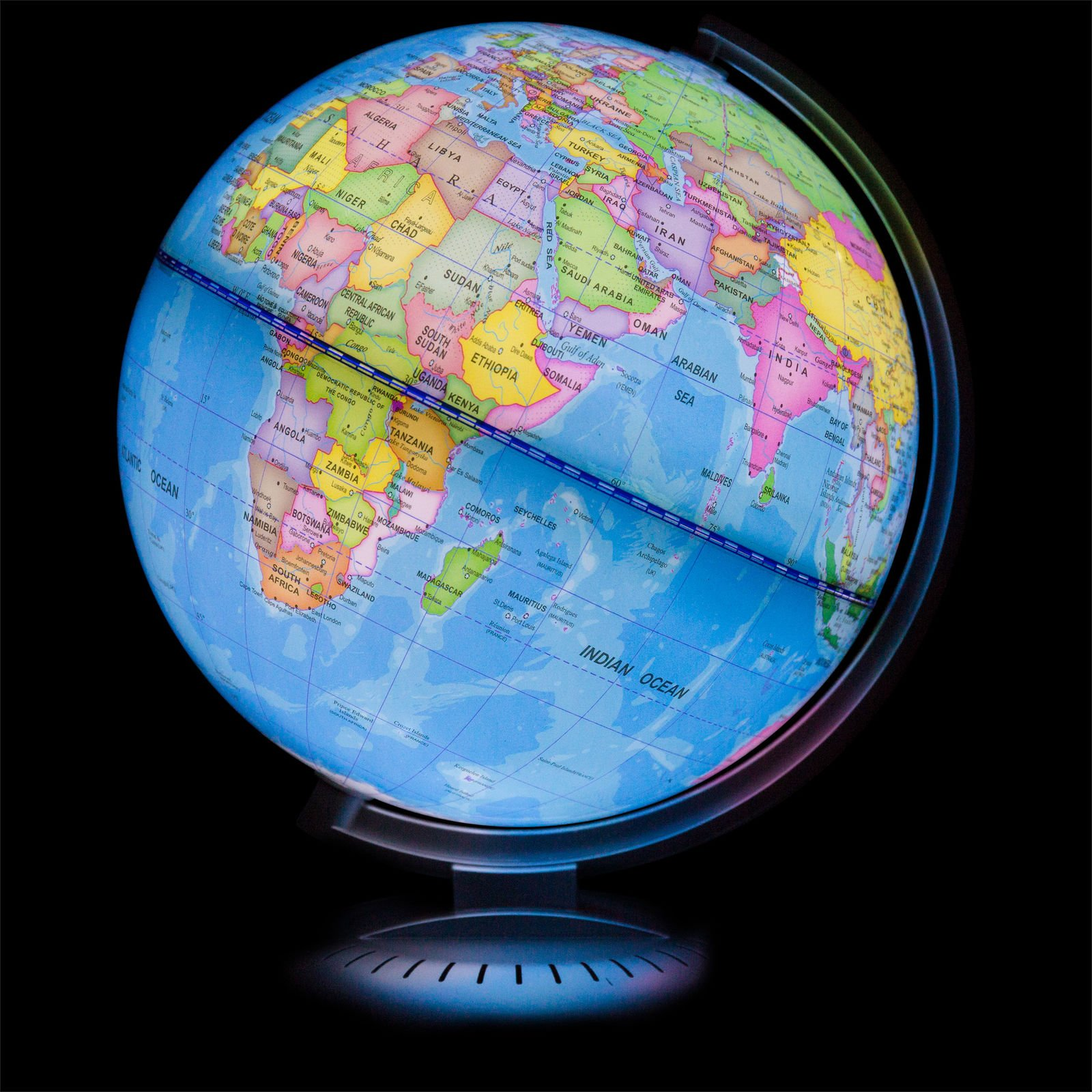Illuminated World Globe - Multicolor With LED Lights (8 inch) by Blossom Store (Image #3)