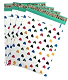"10x13 (100) Colorful Hearts Designer Poly Mailers Shipping Envelopes Boutique Custom Bags By ValueMailers (10"" x 13"")"