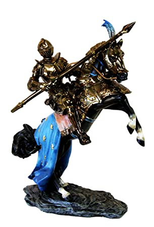 Atlantic Large Medieval Jostling Lance Knight On Decorated Cavalier Horse Figurine Collectible Statue Decor
