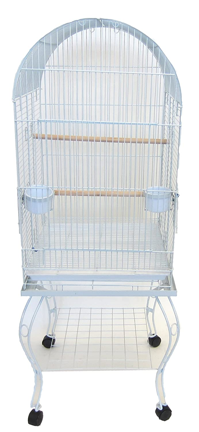 YML 24-Inch Dometop Parrot Cage with Stand, White YML GROUP INC 0204WHT