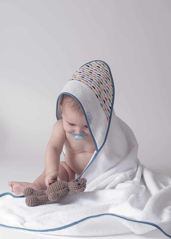 Ti TIN - Capa de Baño de Bebé + Capucha Punto de Cruz 100% Algodón con Tacto muy suave, Estampado ARCOIRIS, 100x100 cm: Amazon.es: Bebé