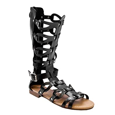 5459f1989f7c96 Forvever Atta 07 Womens Caged Gladiator Strappy Flat Sandals Black 5.5 HI