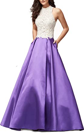 Ladsen 2018 High Neck Lace Ball Gown Prom Dresses Backless Long Homecoming Gowns Purple US0 Size