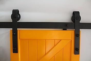 SMOOTHCLUE - Soporte para puerta corredera de granero de acero al carbono, ganchos en forma de J (negro).: Amazon.es: Bricolaje y herramientas