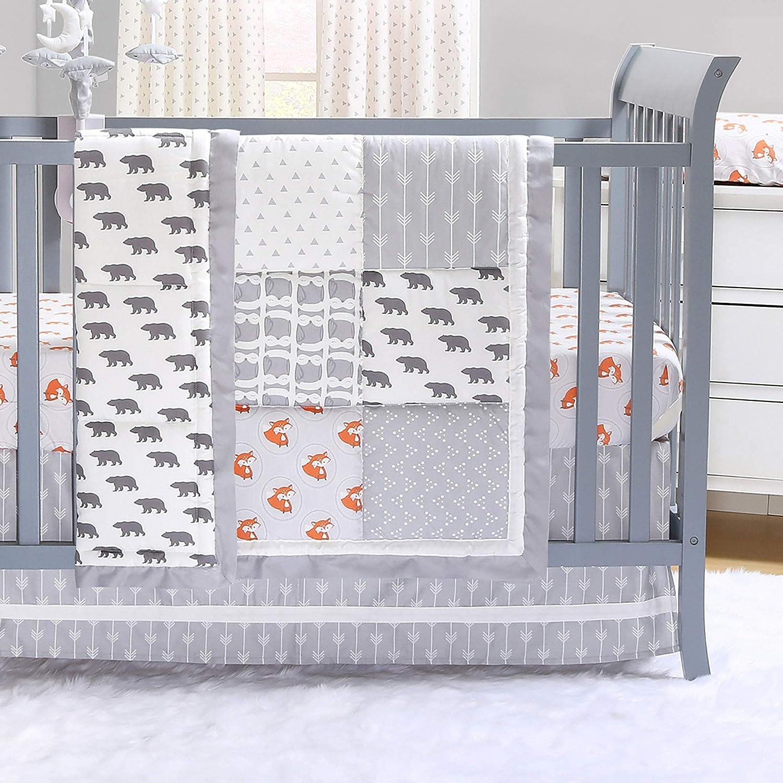 Grey and Orange Woodland Friends Forest Animal Theme 3 Piece Baby Boy Crib Bedding Set