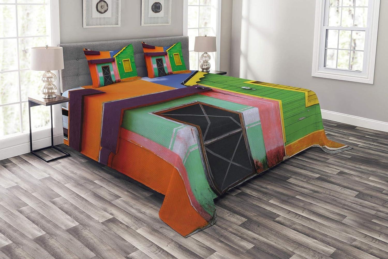 美しいメキシコのベッドスプレッド カリビアンハウス 鮮やかな色彩 イスラ ミュジェレス メキシコ ラテン アメリカ 写真 装飾 キルト カバーレット セット ピローシャム付き マルチカラー クイーン bed_47107_queen B07HL28GTV マルチ1 クイーン