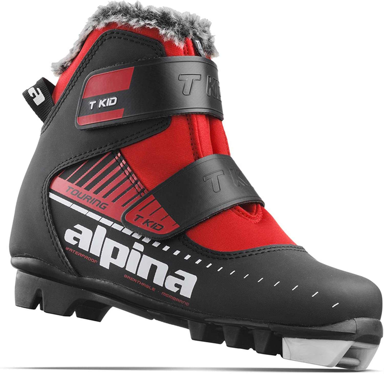 Alpina Sports Youth T-Kid Touring Cross Country Nordic Ski Boots With Dual Strap Closure Euro 26 Black//Red