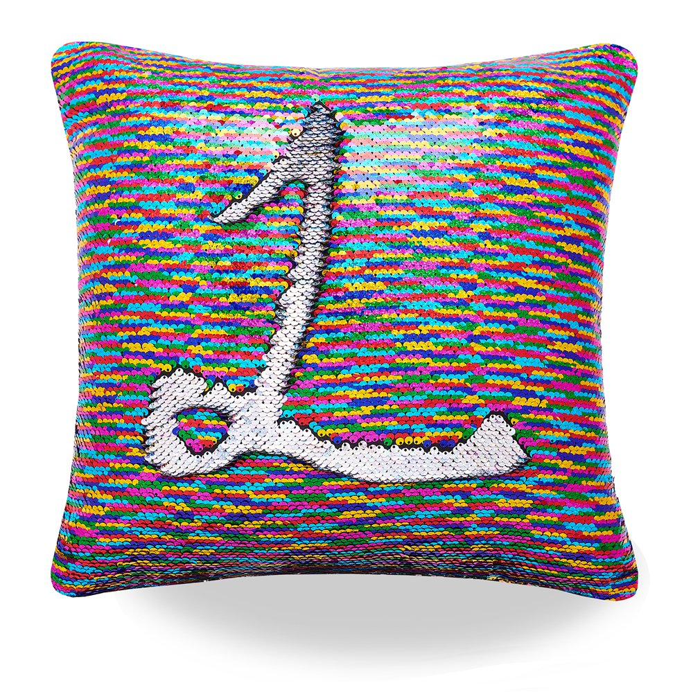 (Rainbow and Silver) - Livedeal Reversible Sequins Mermaid Pillow Cases 4040cm (Rainbow and Silver)  Rainbow and Silver B07BT3QZPW