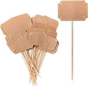 Bamboo Cocktail Sticks, Kraft Paper Toothpicks (9 in, 50 Pack)