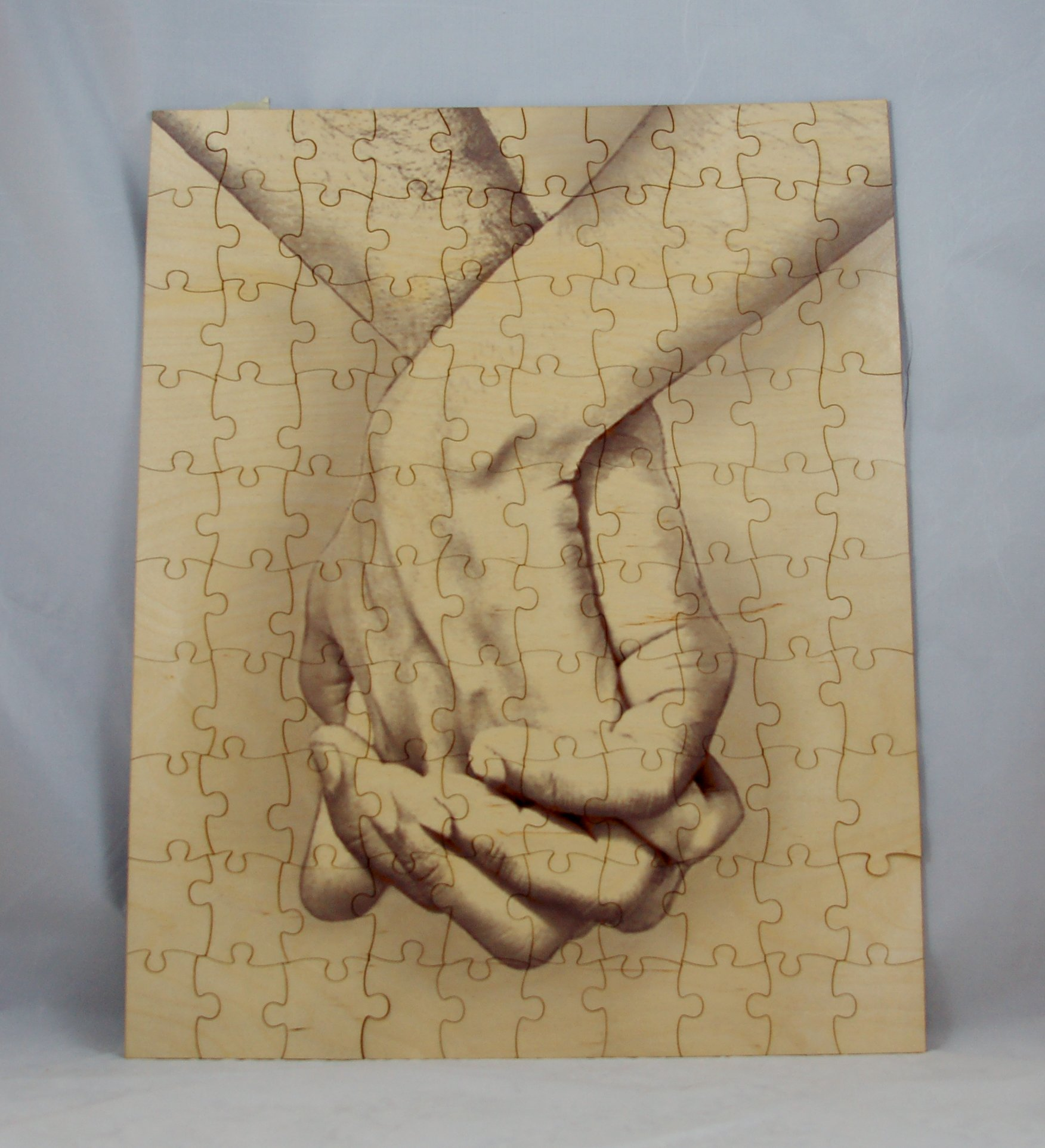 """""""Hand in Hand"""" Alternative Wedding Guest Book Picture Wood Box Puzzle 100 Piece 16 x 20"""