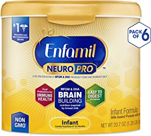 Enfamil NeuroPro Baby Formula Milk Powder, 20.7 Ounce (Pack of 6), Omega 3, Probiotics, Brain Support