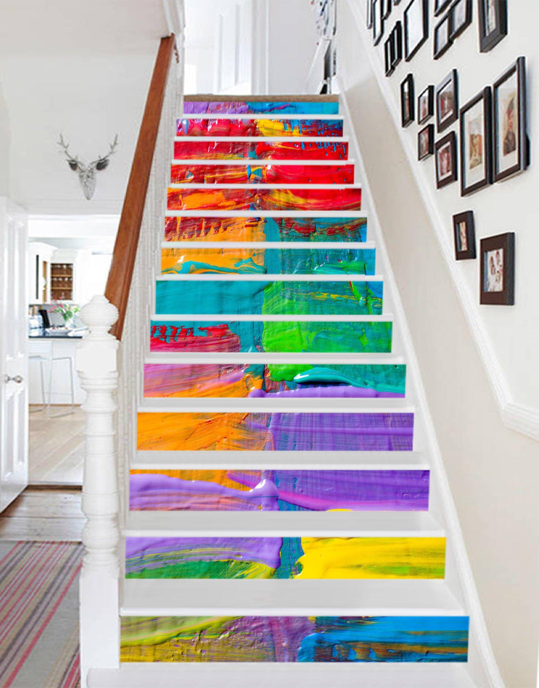 3D Color Painting 768 Stair Risers Decoration Photo Mural Vinyl Decal Wallpaper Murals Wallpaper Mural US (15x H:18cm x W:102cm (7''x40''))