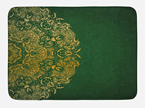 Amazon Com Lunarable Emerald Bath Mat Inspirations In Vibrant Colored Mandala Design Swirls Curves Plush Bathroom Decor Mat With Non Slip Backing 29 5 X 17 5 Emerald Mustard Kitchen Dining