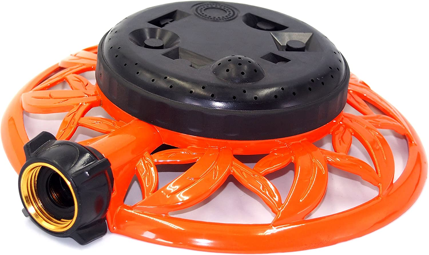 2wayz 8 Pattern Turret Garden Lawn Sprinkler with Super Heavy Duty Circle Metal Base. Powerful Water Output with No Leaks! ¾ Hose Input, 360° Connector Swivel : Garden & Outdoor