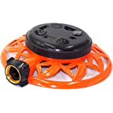 2wayz 8 Pattern Turret Garden Lawn Sprinkler with Super Heavy Duty Circle Metal Base. Powerful Water Output with No Leaks! ¾ Hose Input, 360° Connector Swivel