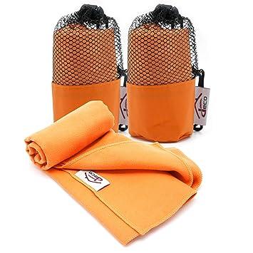Decocasa Pack 2 Toallas Microfibra Compactas, Ligeras y Absorbentes, 40x80 Naranja: Amazon.es: Hogar