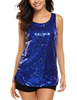 2e57a51bad8308 Zeagoo Women s Sleeveless Sparkle Shimmer Camisole Vest Glitter Sequin Tank  Tops