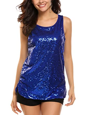 1368297bd97c0 Zeagoo Womens Sleeveless Sparkle Shimmer Camisole Loose Sequined Vest Tank  Tops