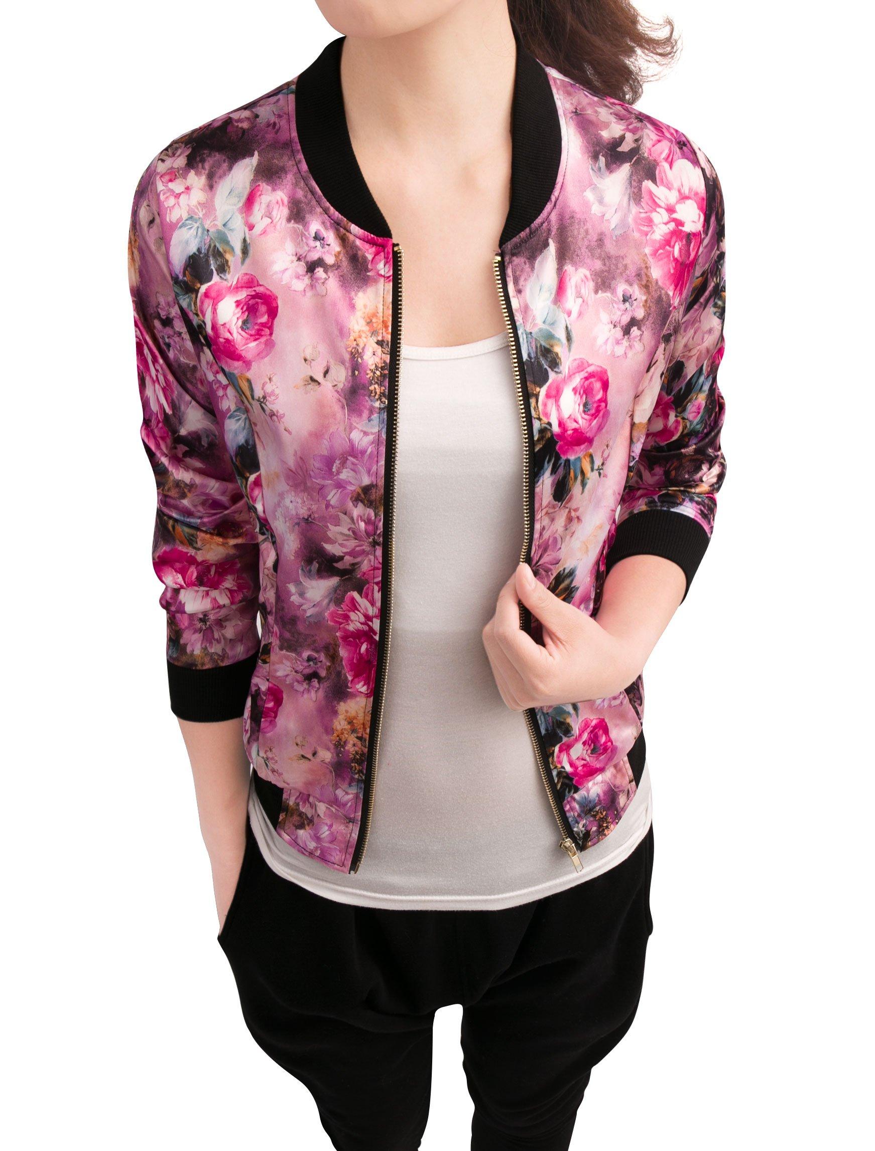 Allegra K Women's Long Sleeve Zip up Floral Print Casual Bomber Jacket Fuchsia S by Allegra K (Image #1)