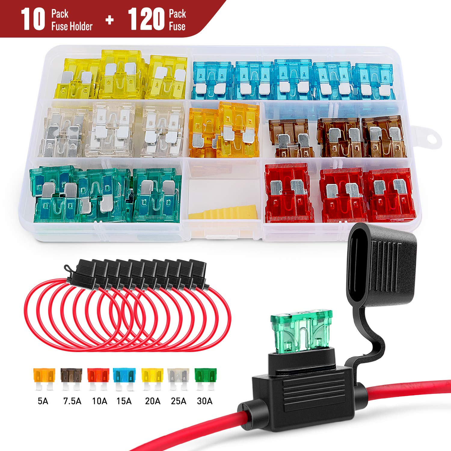 Nilight 120 Pcs Standard Blade Fuse 5A/7.5A/10A/15A/20A/25A/30A AMP Assorted Set with 10 Pack 14AWG ATC/ATO Inline Fuse Holder, 2 Years Warranty by Nilight