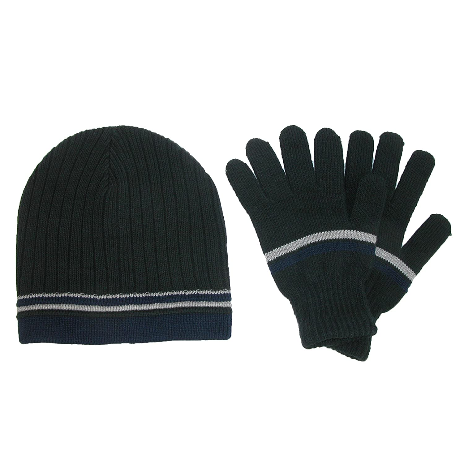 4cdf6ab4337 CTM Men s Knit Striped Beanie and Gloves Winter Set Black RG-K2213 ...