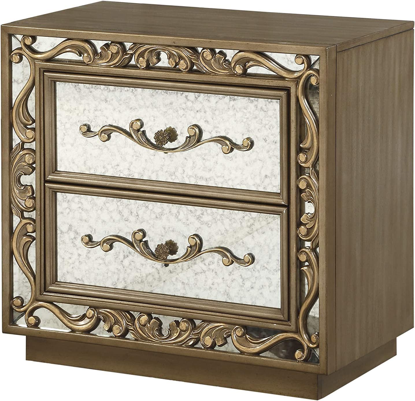 ACME Furniture Orianne Nightstand, Antique Gold and Mirrored