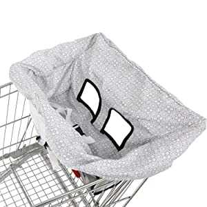 Waterproof 2-in-1 Shopping Cart & Baby High Chair Seat Covers with Portable Carry Bag
