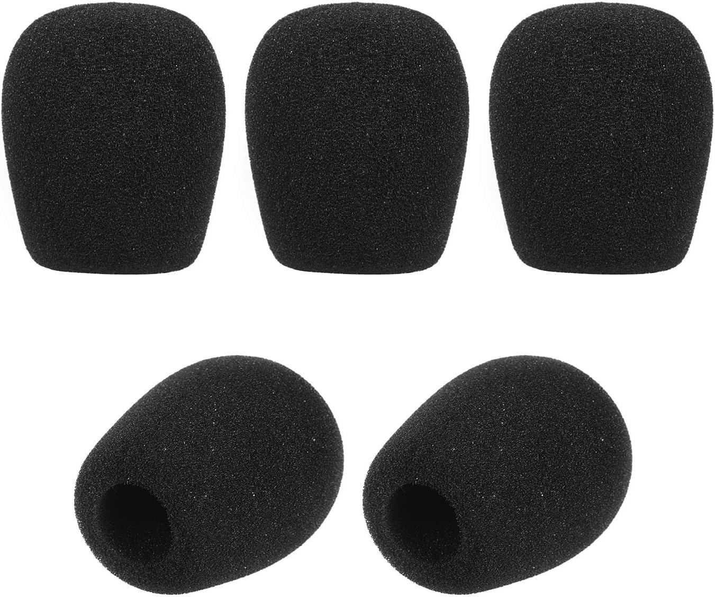 Muslady Microphone Covers Mini Mic Windscreens Mic Foam Covers for Lapel Lavalier Headset Microphone Black Pack of 5pcs