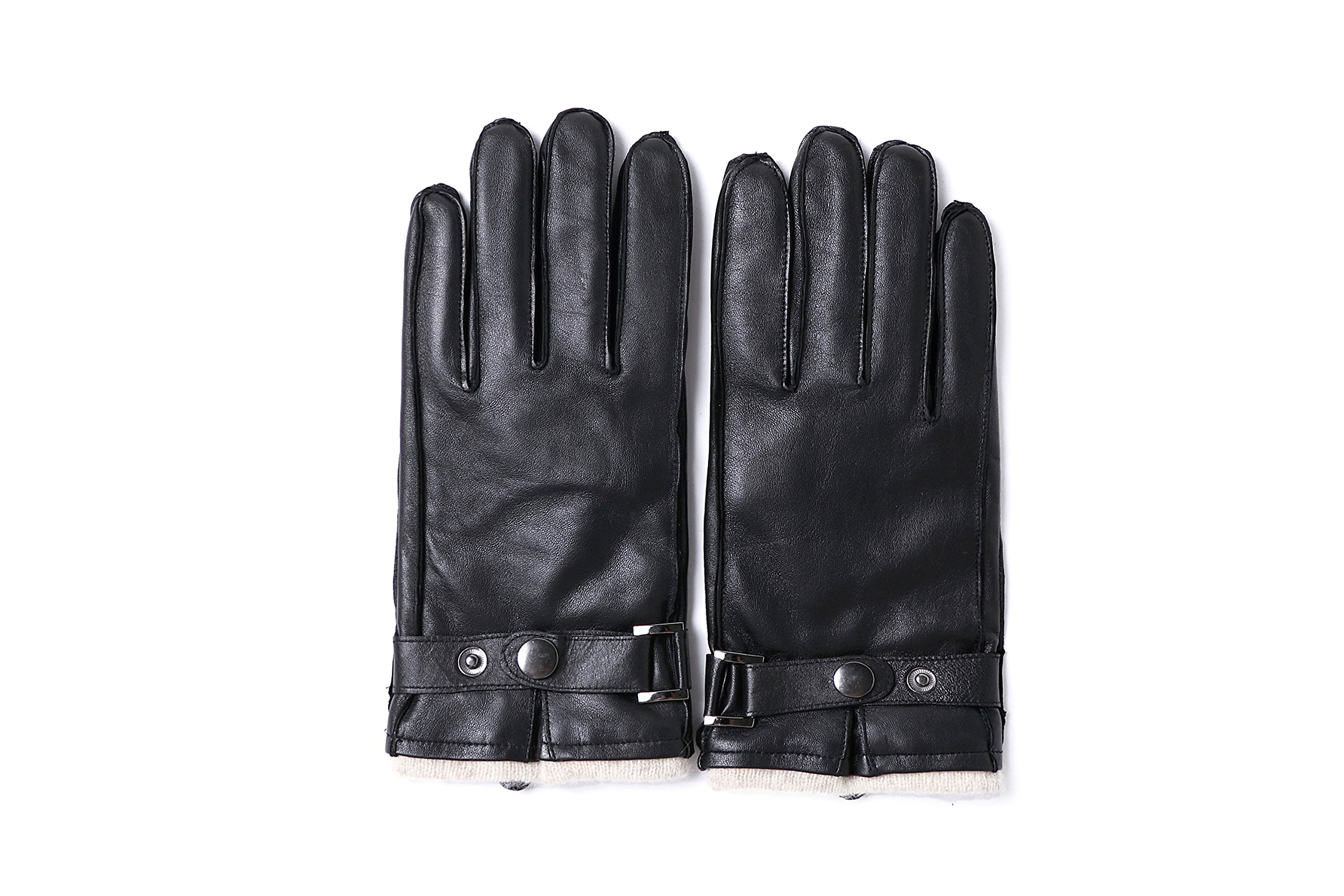 YISEVEN Men's Sheepskin Leather Gloves Flat Design Plain and Belt Wool Lined Real Luxury Soft Hand Warm Fur Heated Lining for Winter Stylish Dress Work Xmas Gift and Motorcycle Driving, Black 100/XL