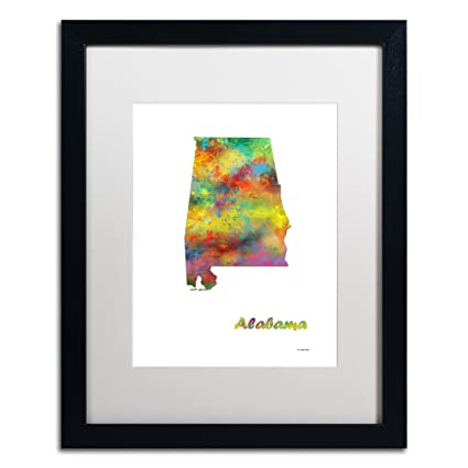 Amazon.com: Trademark Fine Art Alabama State Map-1 by ... on people map, greenland map, manufacturing map, raw resources world map, transportation map,
