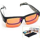 ElementsActive Fitover Anti-Blue Blocking Computer Glasses   Fits Over Prescription Eyeglasses   Amber Orange to Block Blue L