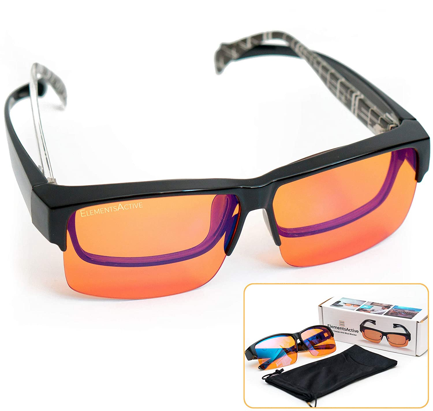 ElementsActive Fitover Anti-Blue Blocking Computer Glasses | Fits Over Prescription Eyeglasses | Amber Orange to Block Blue Light | Better Night Sleep & Reduce Eyestrain Migraine Headaches Insomnia