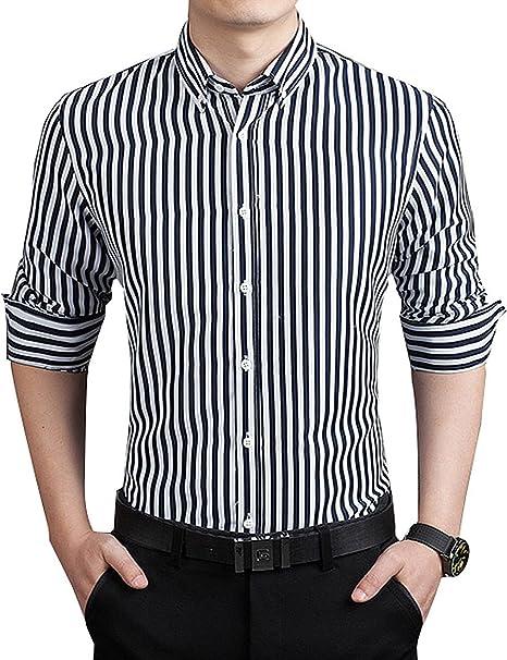 Men Classic Business Shirts Stripe Long Sleeve Button-Down Shirts