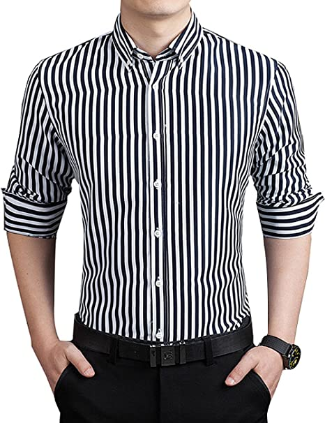 Dokkia Men S Casual Business Sleeved Vertical Striped Slim Fit Dress Shirts