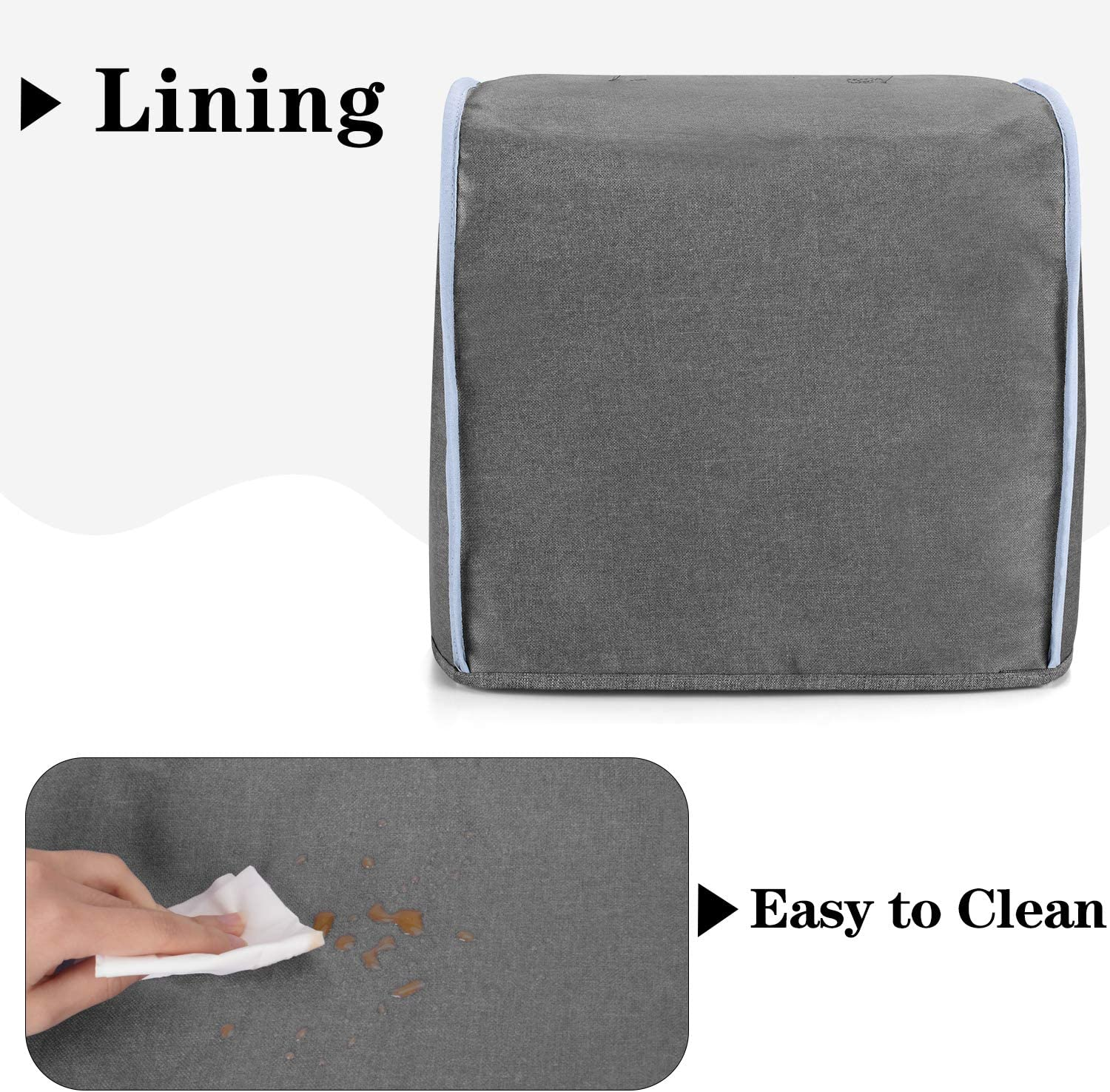 Overlock Machine Dust Cover for Most Standard Singer or Brother Serger Gray with Arrow Yarwo Serger Sewing Machine Cover with Top Handle and Pockets