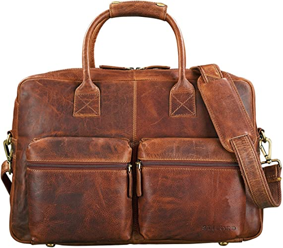 Stilord Ben Vintage Businesstasche Leder Groß Unisex Umhängetasche 15 6 Zoll Laptop College Bag Aktentasche Uni Echtes Rindsleder Farbe Kara Cognac Schuhe Handtaschen